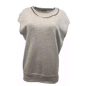 Zara cap sleeve sweatshirt gray necklace attached